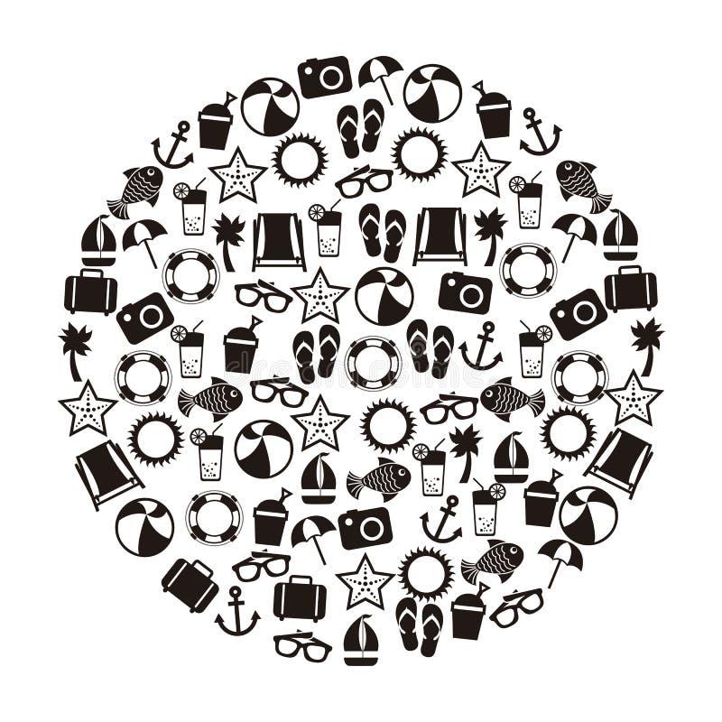 Download 夏天象 向量例证. 插画 包括有 圈子, 剪影, 休息, 设计, 海星, 火箭筒, 古代人, 夏天, 符号 - 30333997