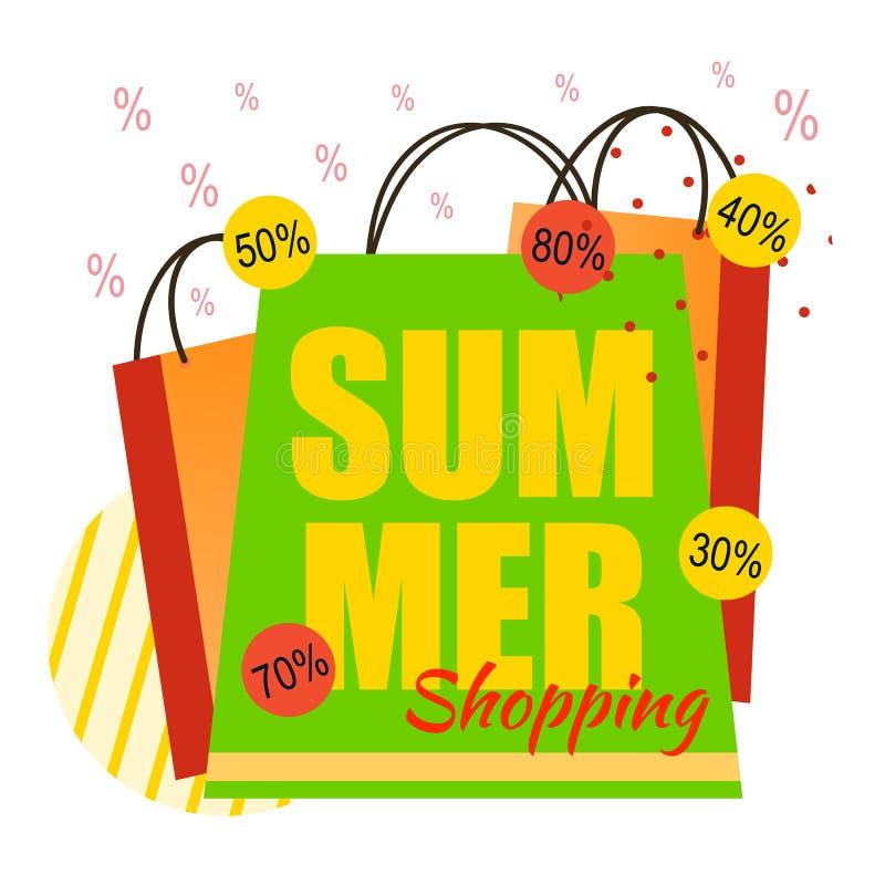 夏天购物和各种各样的折扣平的横幅 向量例证