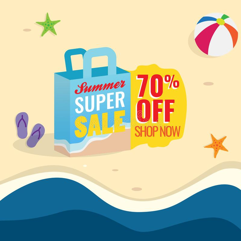 70%夏天超级销售横幅促进传染媒介例证 与文本标签和沙滩背景的购物带来象 向量例证