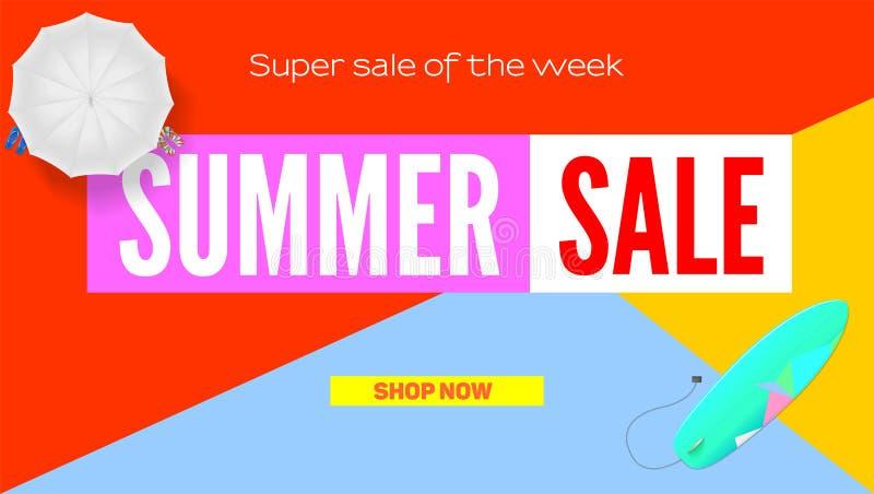 夏天超级销售 卖广告横幅 夏天超级假期折扣 阳伞,在平的设计海报的冲浪板 向量例证