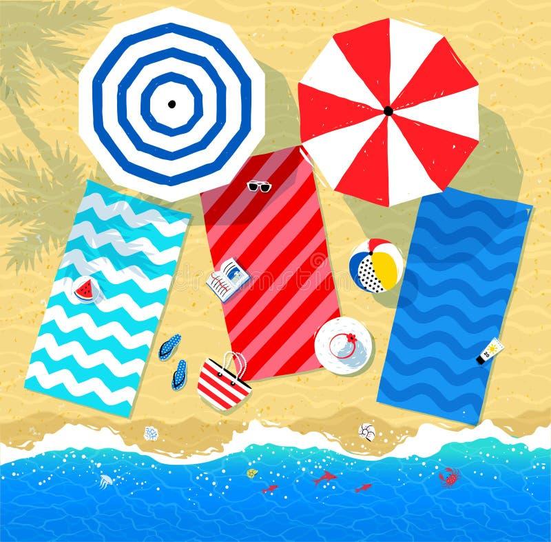 夏天辅助部件和海海浪 库存例证