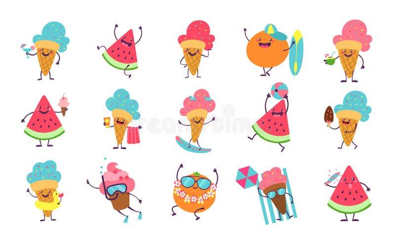 夏天逗人喜爱的贴纸 海滩与滑稽的面孔的游泳党的字符演奏晒日光浴 传染媒介元素为夏天 库存例证