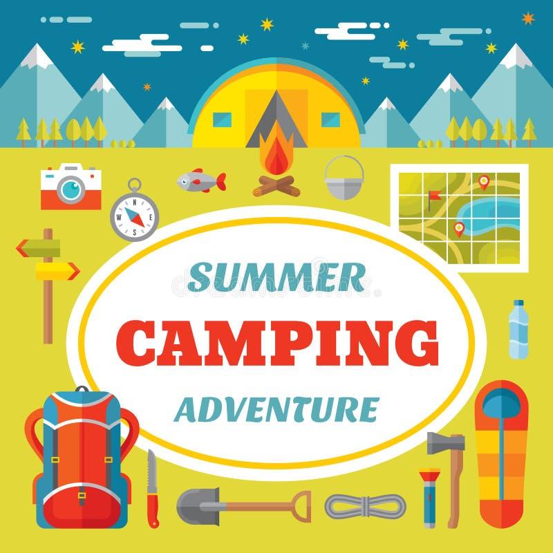 夏天野营的冒险-在平的样式的创造性的传染媒介横幅 向量例证