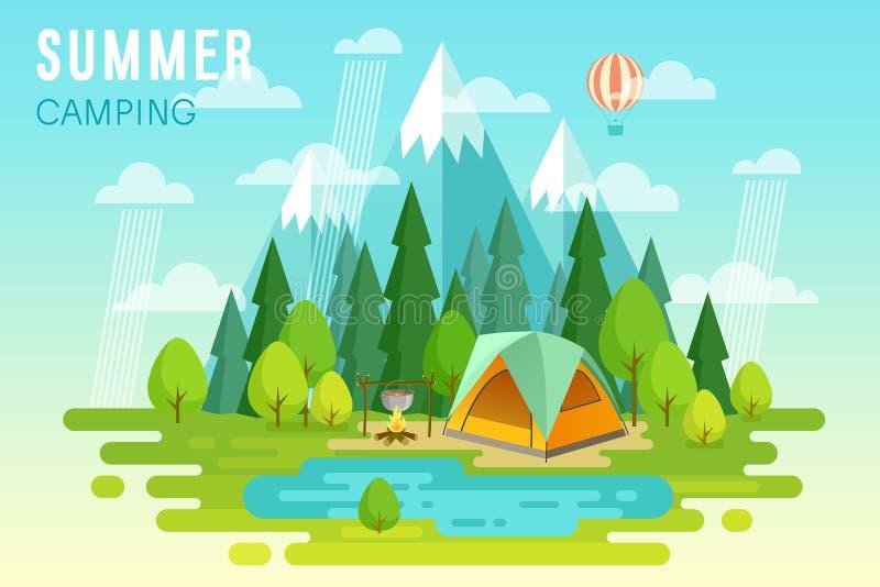 夏天野营的图表海报 皇族释放例证