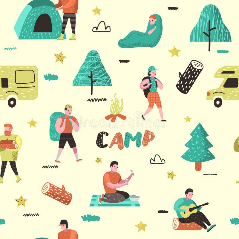 夏天野营的无缝的样式 阵营的漫画人物人 旅行设备,营火,室外活动 向量例证