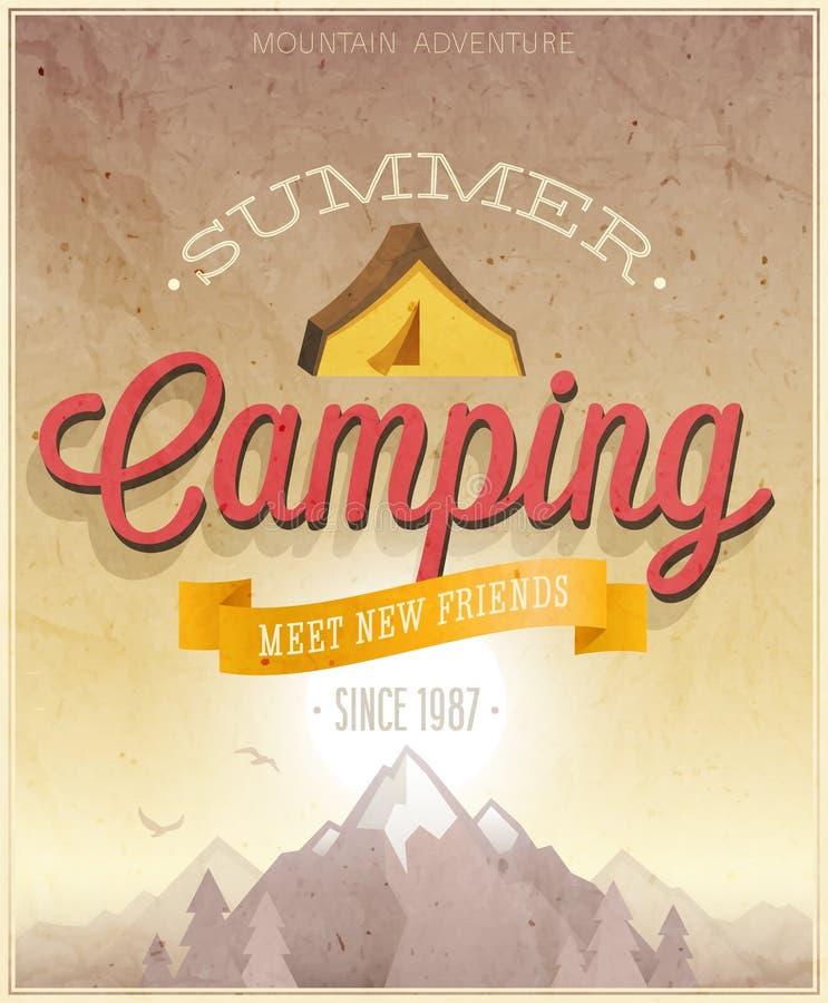夏天野营的海报 皇族释放例证