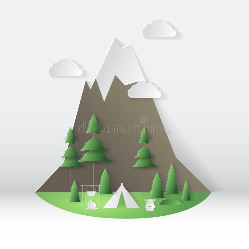 夏天野营的纸裁减样式 与山,树的概念 也corel凹道例证向量 库存例证