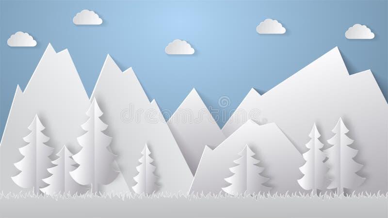 夏天野营的纸裁减样式 与山,树的概念 也corel凹道例证向量 皇族释放例证