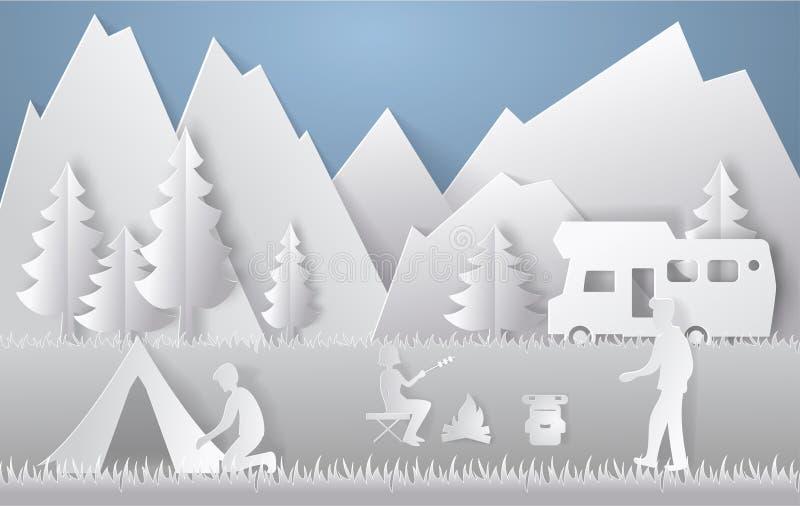 夏天野营的纸裁减样式 与山,树,野餐的人们的概念 也corel凹道例证向量 向量例证