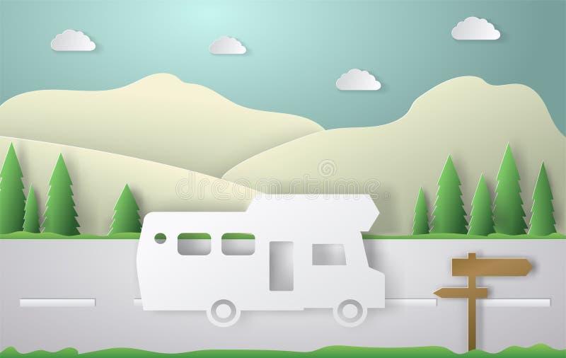 夏天野营的纸裁减样式 与汽车,路,轨道的概念 也corel凹道例证向量 皇族释放例证