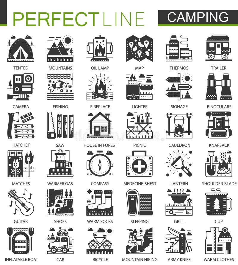 夏天野营的经典黑微型概念标志 远足现代象图表例证的传染媒介被设置 皇族释放例证