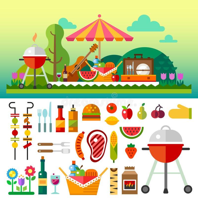 夏天野餐在草甸 向量例证
