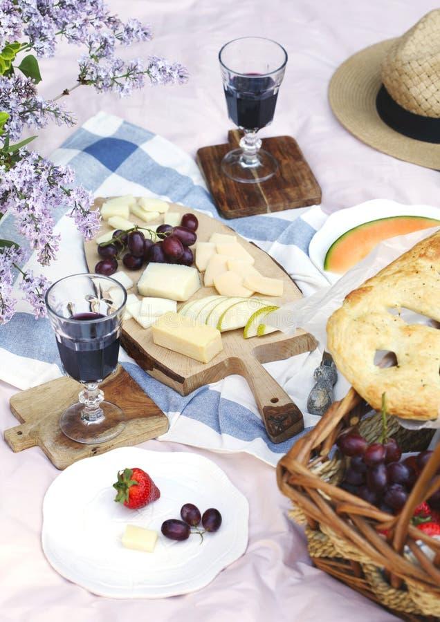 夏天野餐用乳酪、酒、果子和面包 库存照片