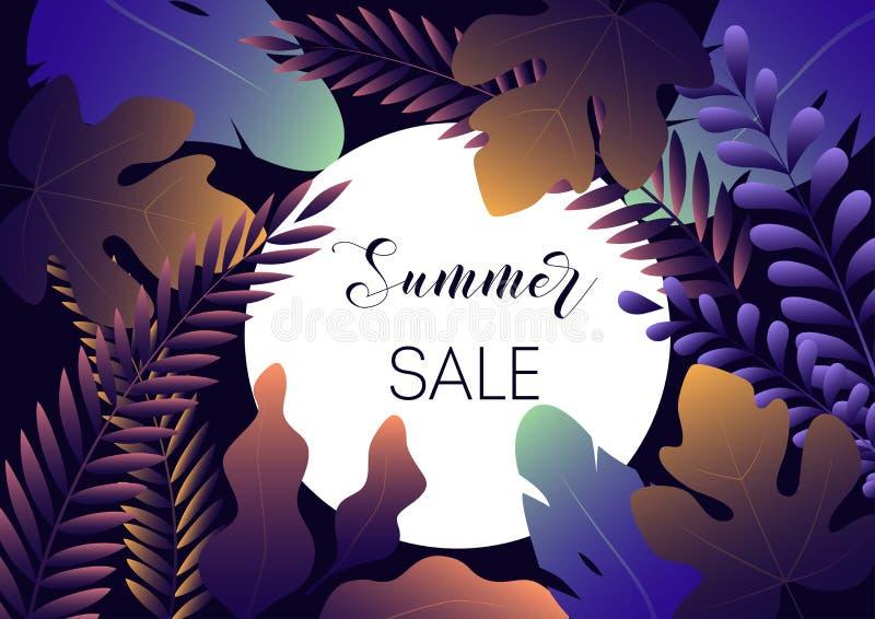 夏天销售与时髦梯度叶子的横幅模板在深蓝背景 皇族释放例证