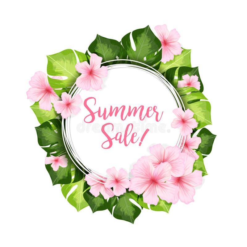 夏天销售与绿色叶子和桃红色花的圈子横幅 向量例证