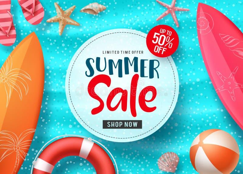 夏天销售传染媒介与五颜六色的海滩元素的横幅设计和在白色空间和蓝色海滩背景的销售文本 库存例证