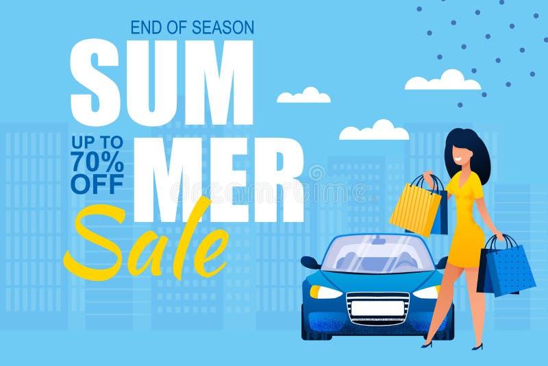 夏天销售在季节广告横幅结束时 库存例证