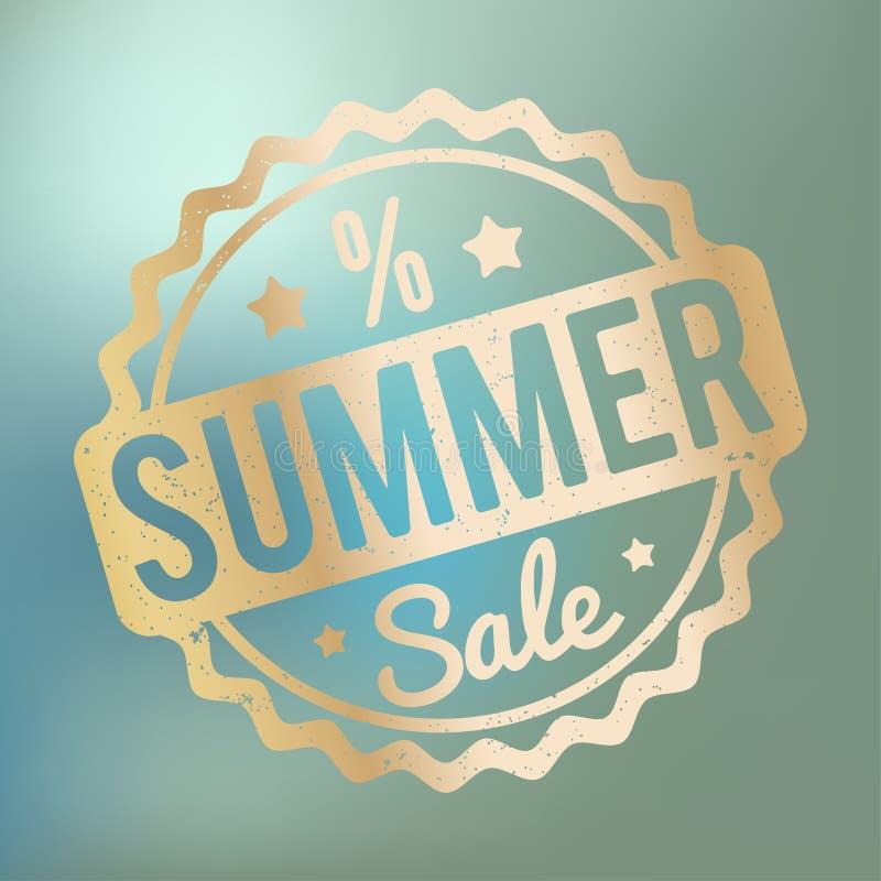 夏天销售在蓝色bokeh背景的不加考虑表赞同的人金子 皇族释放例证