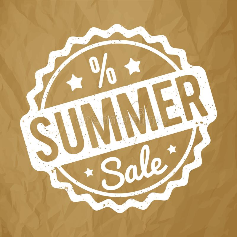 夏天销售在被弄皱的纸棕色背景的不加考虑表赞同的人白色 向量例证