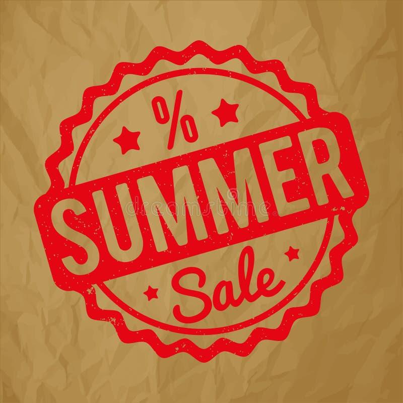 夏天销售在被弄皱的纸棕色背景的不加考虑表赞同的人红色 库存例证