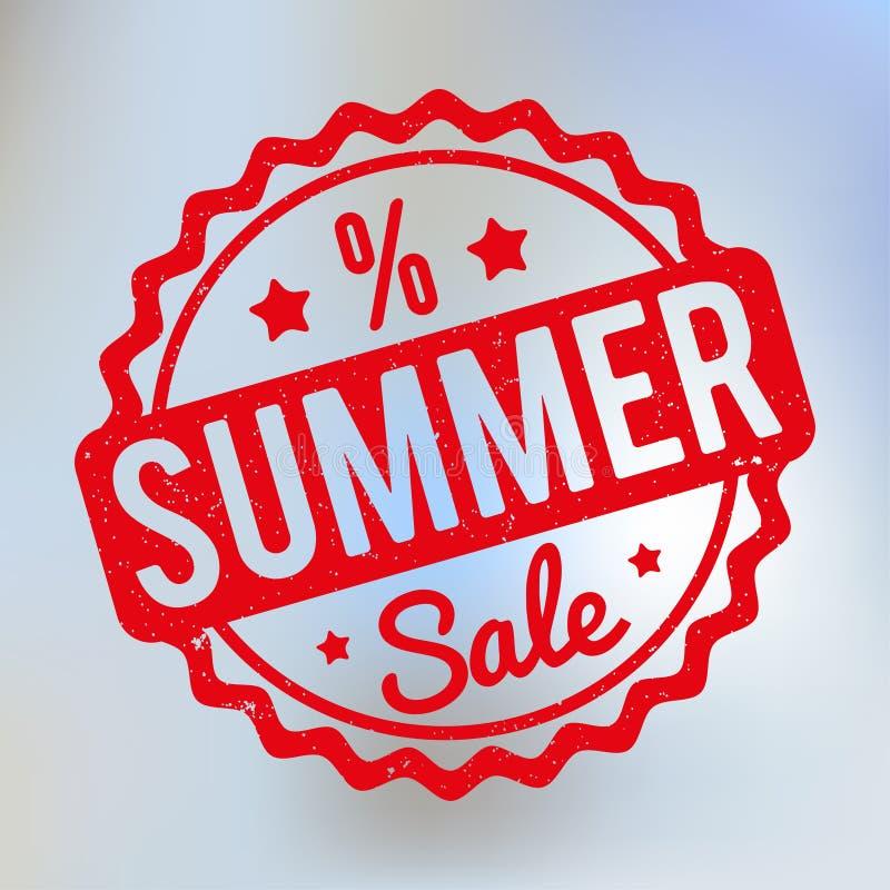 夏天销售在lila bokeh背景的不加考虑表赞同的人红色 向量例证