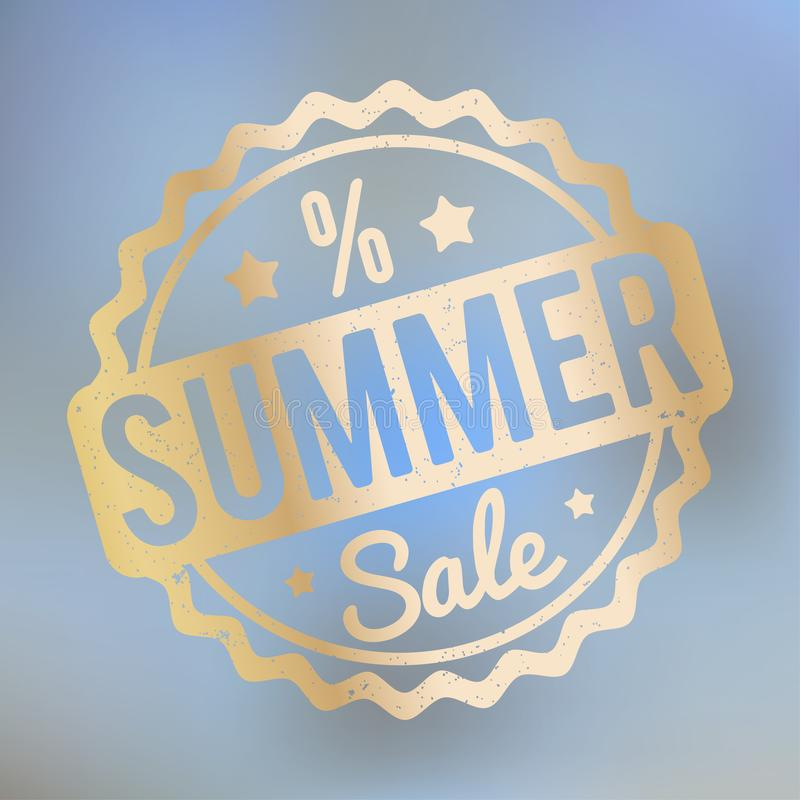夏天销售在lila bokeh背景的不加考虑表赞同的人金子 向量例证