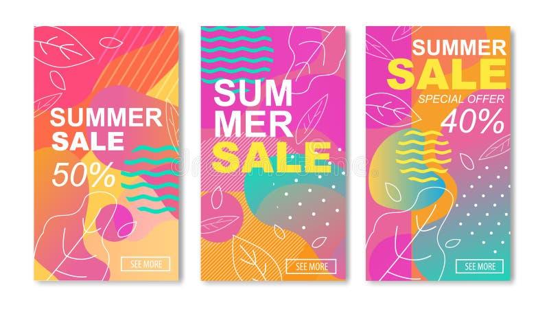 夏天销售媒介故事或流动卡集 向量例证