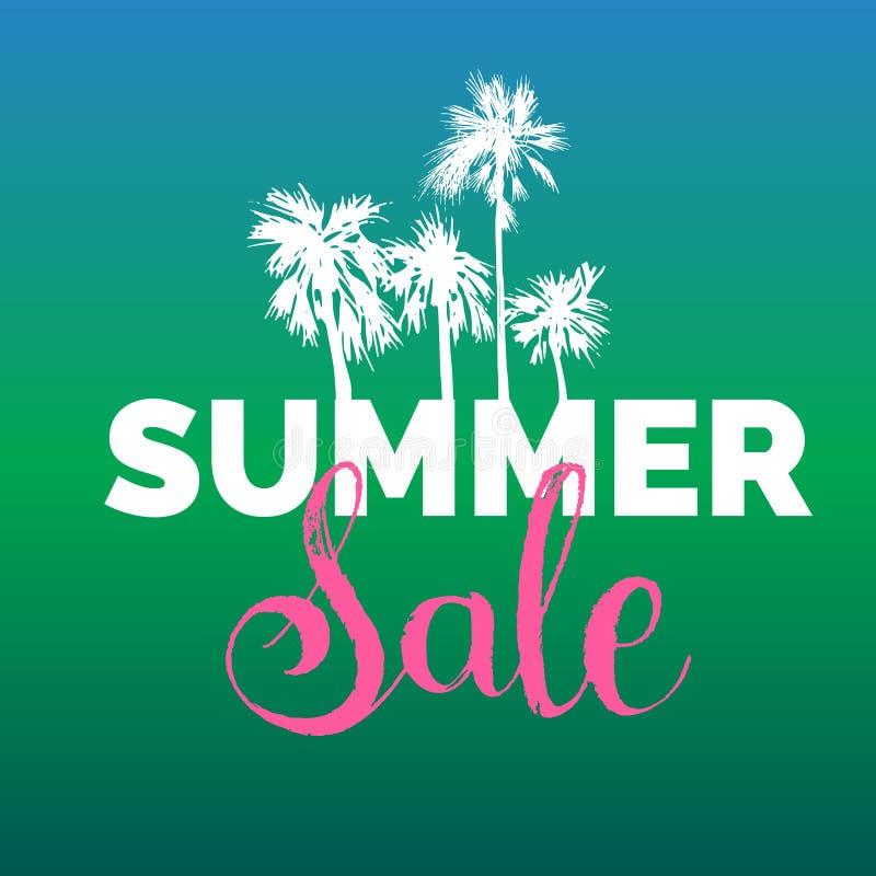 夏天销售字法传染媒介背景 季节折扣例证 与手拉的棕榈的特价优待海报 皇族释放例证