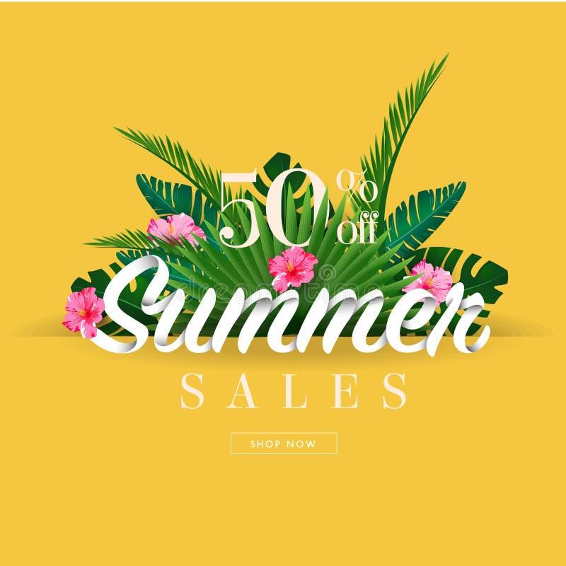 夏天销售季节横幅的折扣末端在地点美好的海滩背景的 向量例证
