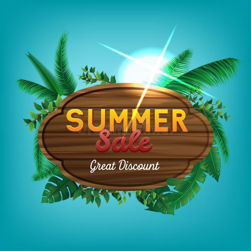 夏天销售巨大折扣标志 向量例证