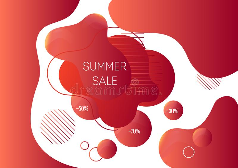 夏天销售广告与时髦抽象液体形状的横幅模板 库存例证