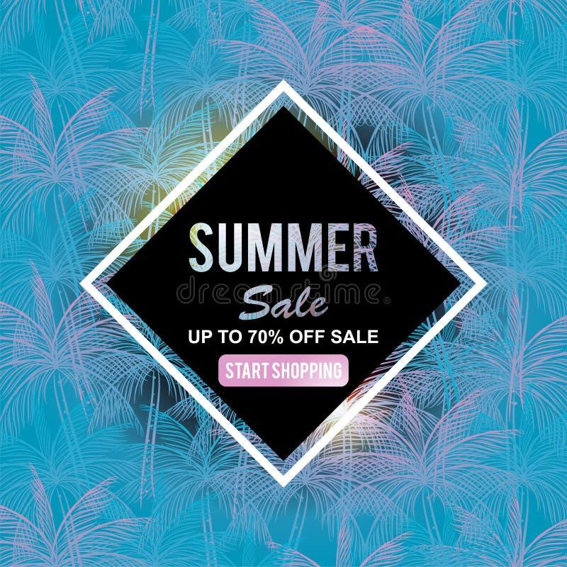 夏天销售横幅模板用椰子离开背景装饰 库存例证