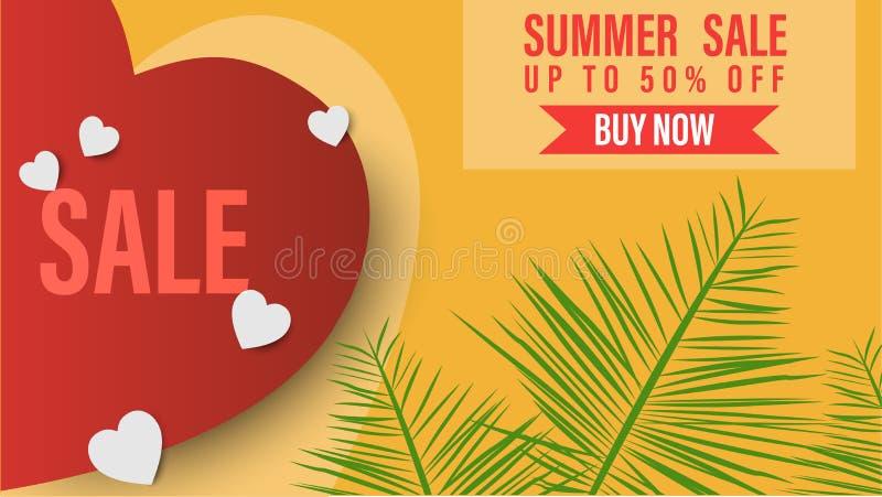 夏天销售横幅模板 与棕榈叶和红心的夏天抽象背景 热带背景 促进模板为 免版税库存图片
