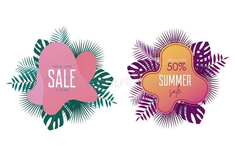 夏天销售横幅模板 促进横幅设计有棕榈叶,异乎寻常和热带背景 电视节目预告贴纸和徽章 向量例证