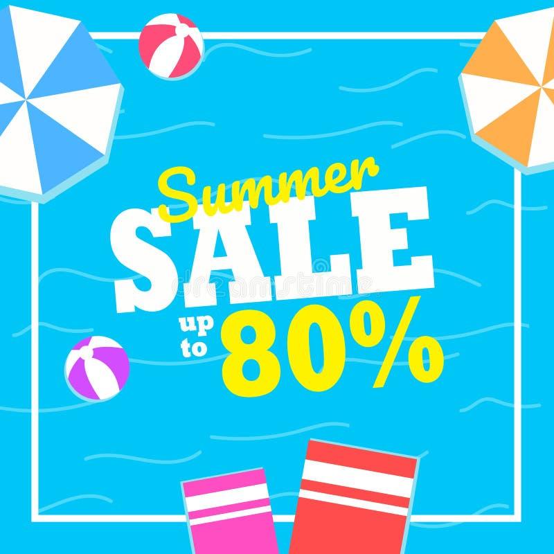 夏天销售横幅的背景布局 五颜六色和有益于促进 库存照片