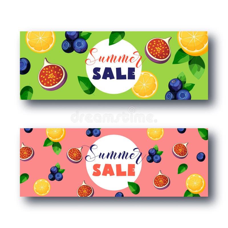 夏天销售横幅设置用在gree和桃红色背景的明亮的五颜六色的果子 库存例证