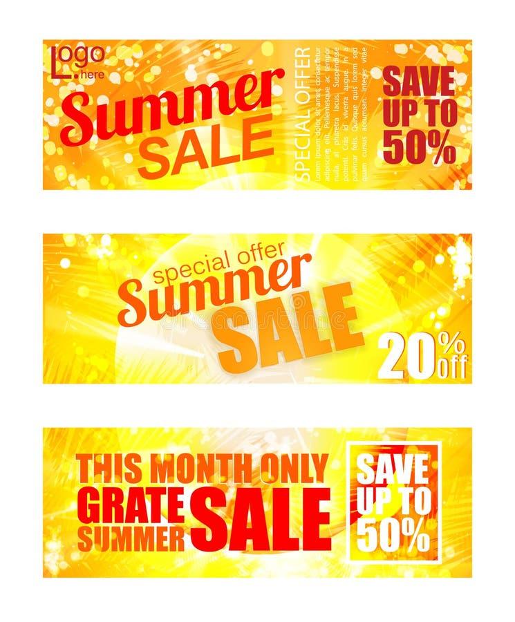 夏天销售横幅集合 晴朗的文本和颜色 向量例证