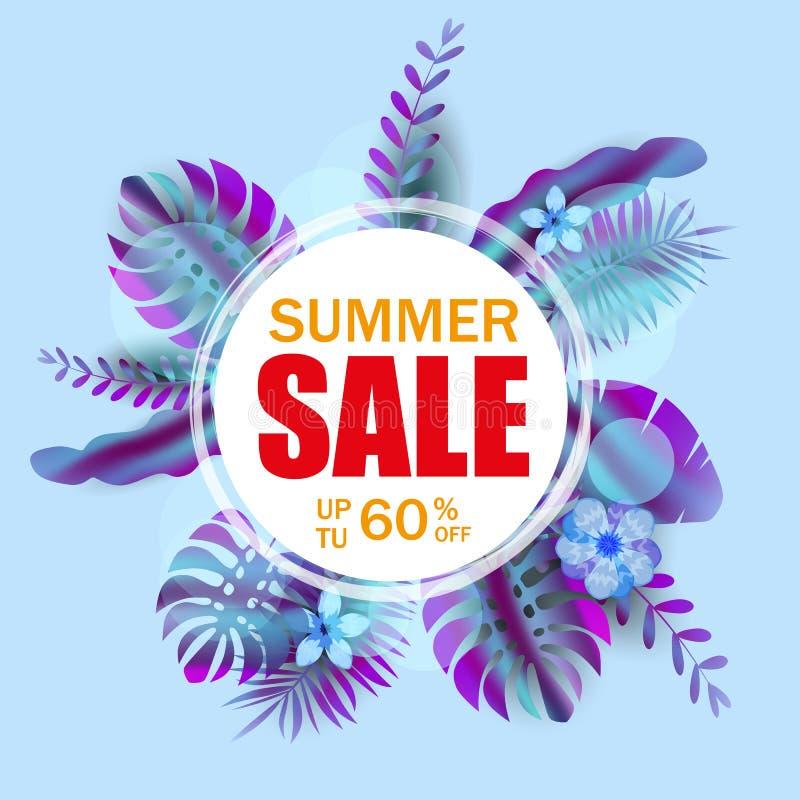 夏天销售横幅,与棕榈叶的海报,密林叶子,全息照相的梯度 花卉热带夏天背景 向量例证