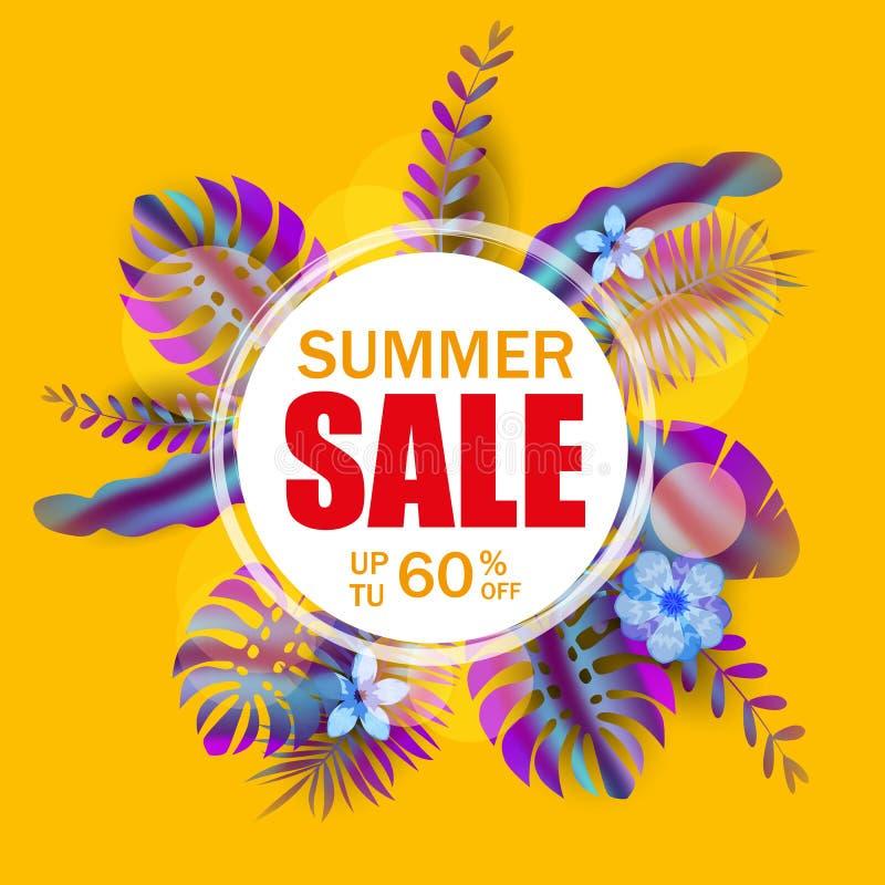 夏天销售横幅,与棕榈叶的海报,密林叶子,全息照相的梯度 花卉热带夏天背景 库存例证