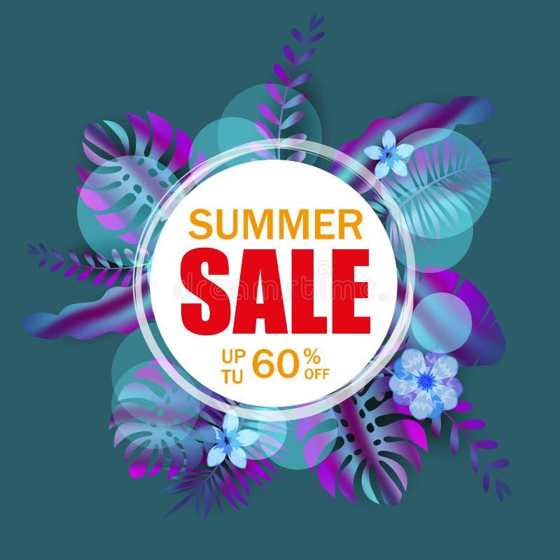 夏天销售横幅,与棕榈叶的海报,密林叶子,全息照相的梯度 花卉热带夏天背景 皇族释放例证