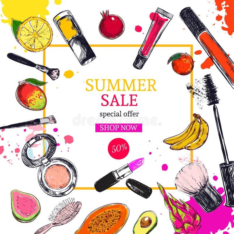 夏天销售横幅 化妆用品和秀丽背景与组成艺术家对象:唇膏,奶油,刷子 库存例证