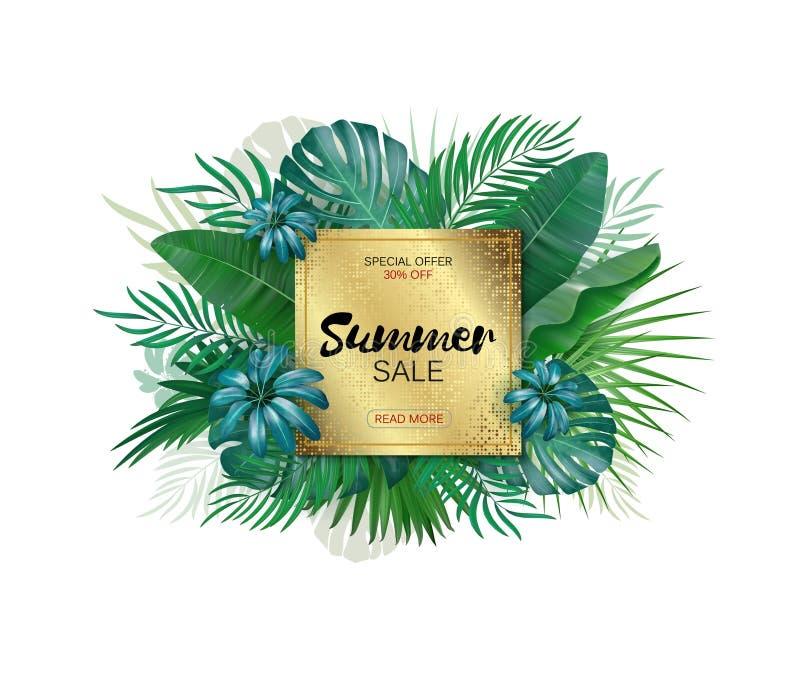 夏天销售横幅 夏天销售印刷品或网的海报设计 传染媒介折扣横幅 热带叶子背景 向量例证