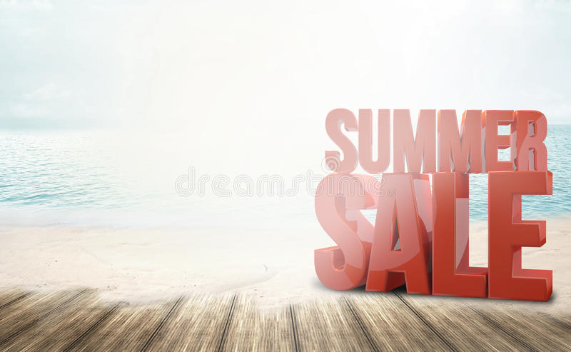 夏天销售海滩海洋晴朗的3d回报 库存例证