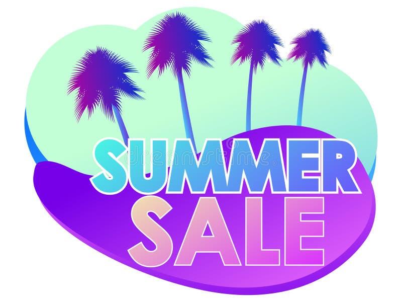 夏天销售液体抽象形状和棕榈树 在白色背景隔绝的梯度紫罗兰可变的形状 ?? 向量例证