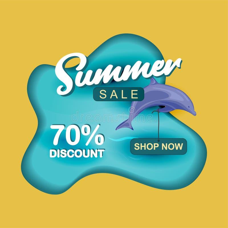 夏天销售设计模板纸裁减与海豚的艺术设计 向量例证