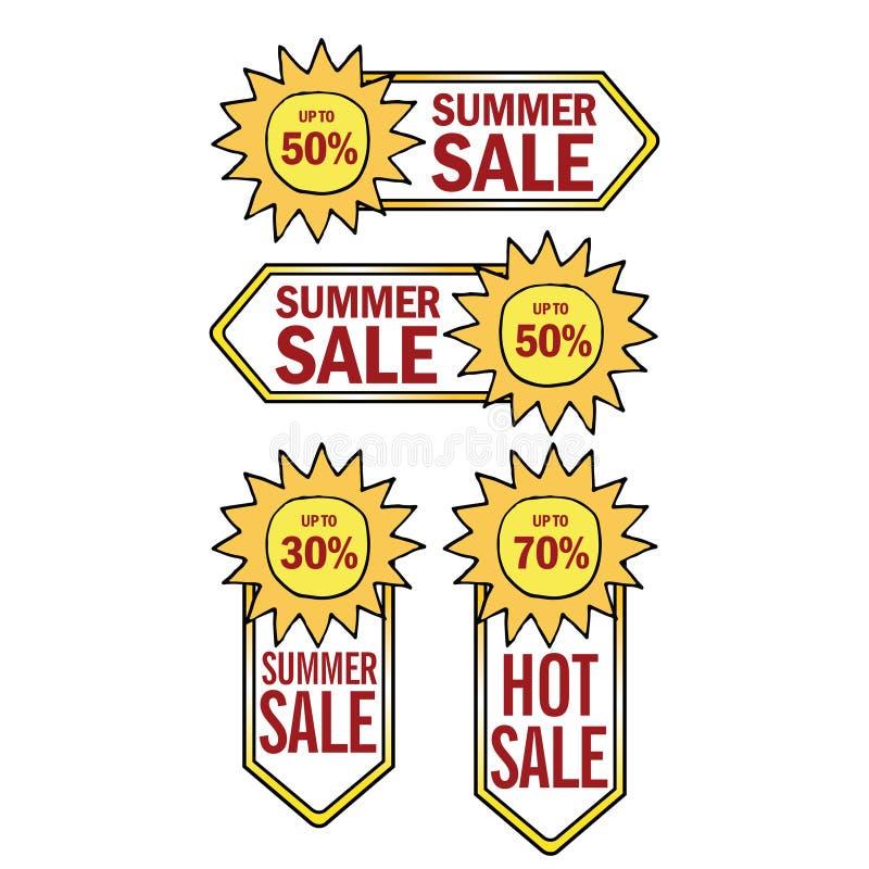夏天销售预先设定模板横幅 向量例证