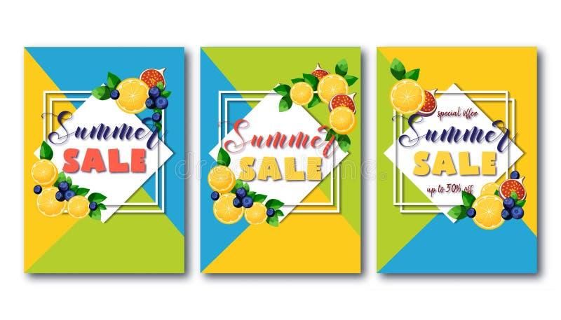 夏天销售飞行物设置用在几何绿色,蓝色和黄色背景的明亮的五颜六色的果子 向量例证