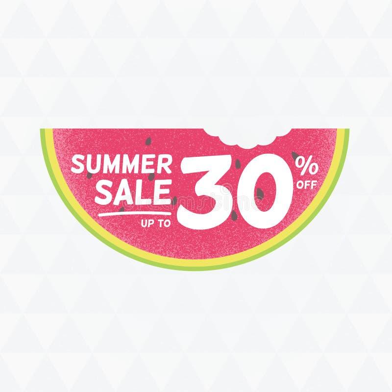 夏天销售30%  与watermelo的传染媒介三角背景 图库摄影