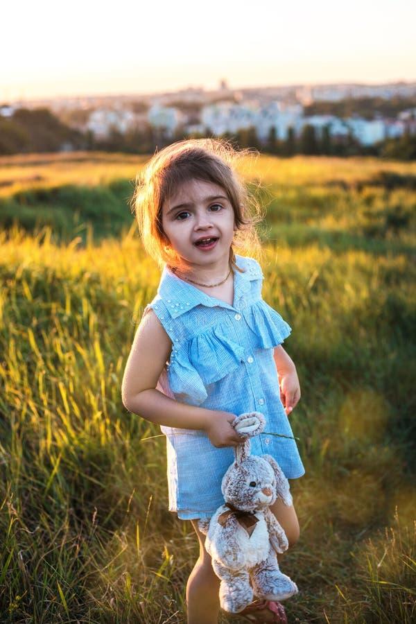 夏天领域的愉快的女孩在日落 免版税库存图片