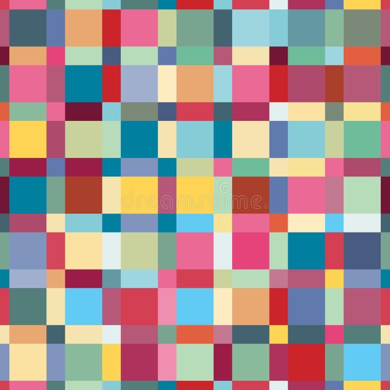 夏天颜色、现代波浪和马赛克块纹理 疯狂的颜色无缝的抽象传染媒介样式 Boho印刷品的时尚样式 皇族释放例证